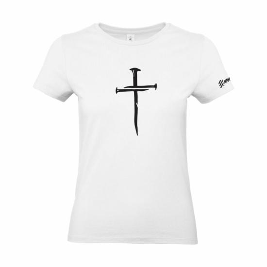 Szöges kereszt női póló fehér