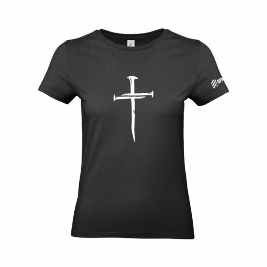 Szöges kereszt női póló fekete