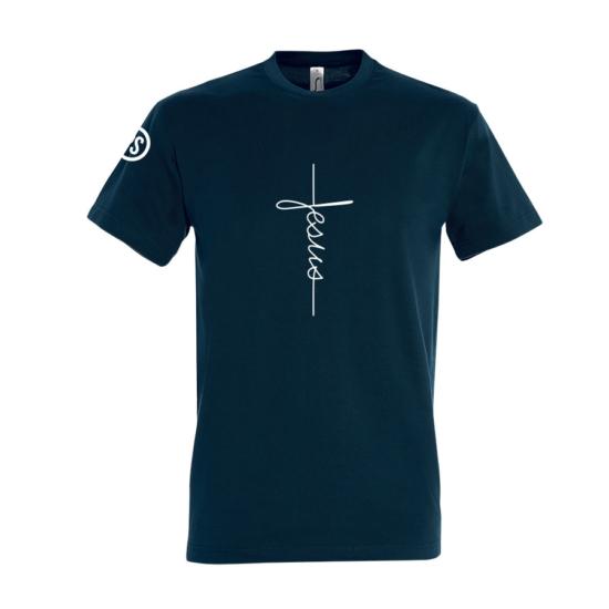 Jesus sötétkék férfi póló