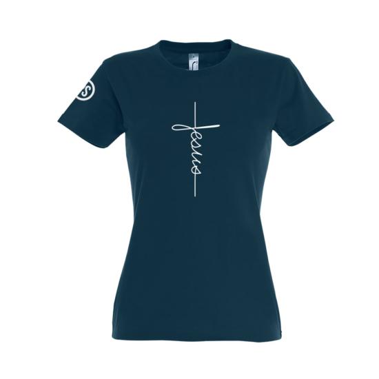 Jesus sötétkék női póló