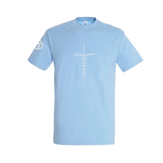 Jesus égkék férfi póló