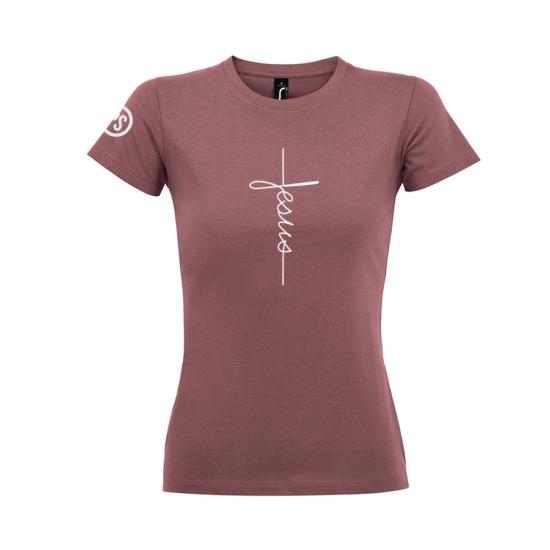 Jesus mély rózsaszín női póló