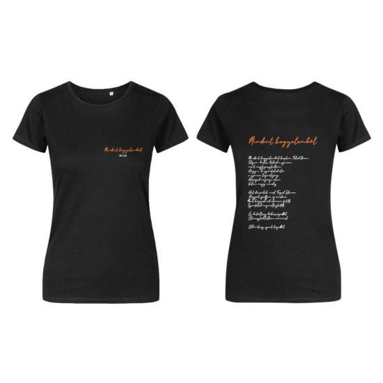 Mindent Kegyelemből fekete női póló